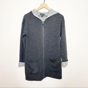 [Jones New York] Gray Long Zip Up Hooded Cardigan